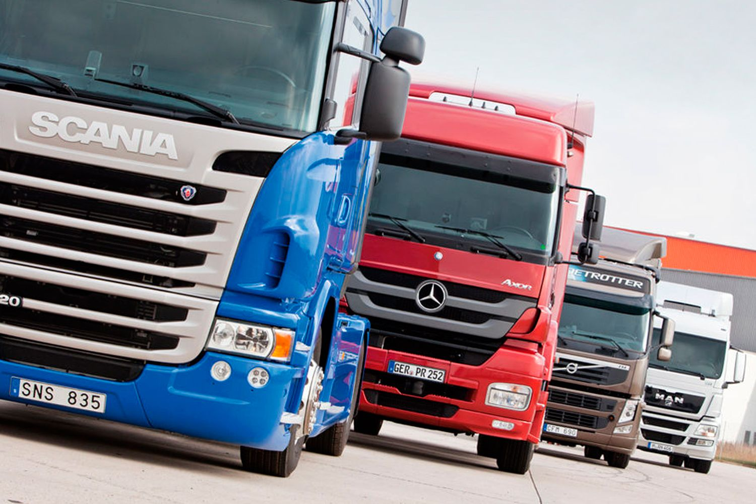 Testing MAN TGS, Mercedes Axor, Scania G, and Volvo FM